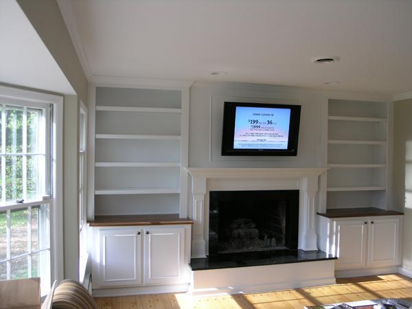Luxury Builtin Bookshelves Around Fireplace  Janice Living Room Ideas